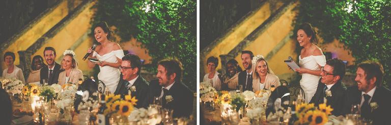 The bride tells a joke during her speech