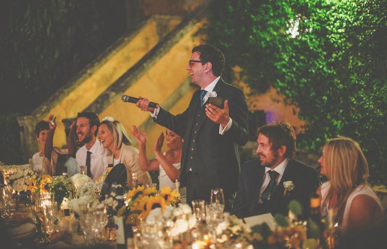 A joke is told by the groom