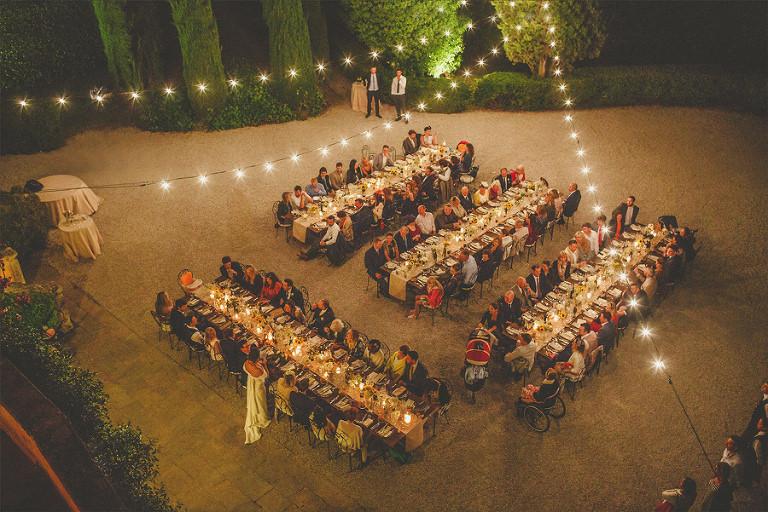 Wedding speech in a courtyard
