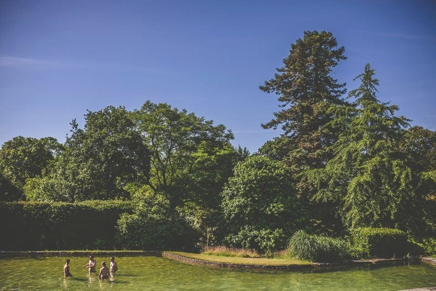 Bathing in the outdoor swimming pool at Pennard house, Somerset