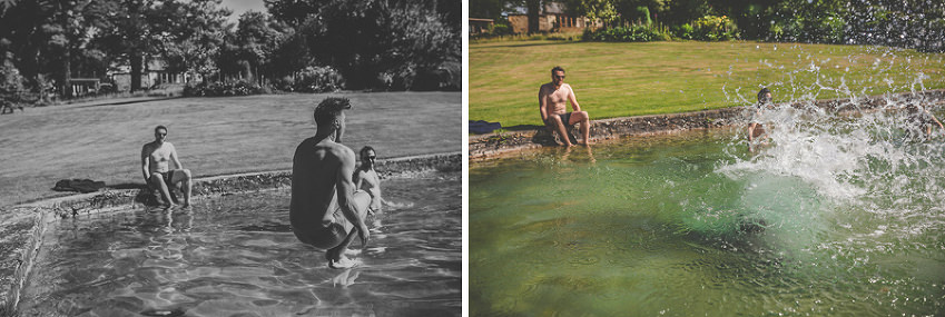 Ushers and the groom jump into the outdoor swimming pool at Pennard house, Somerset