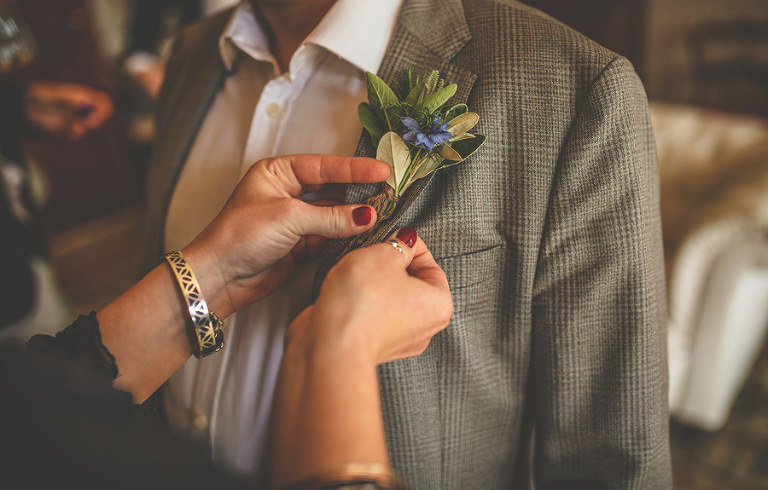 Pinning the flowers to lapels