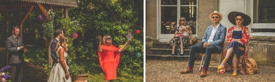 A wedding guest delivers her speech during the outdoor cermony at Pennard house, Somerset