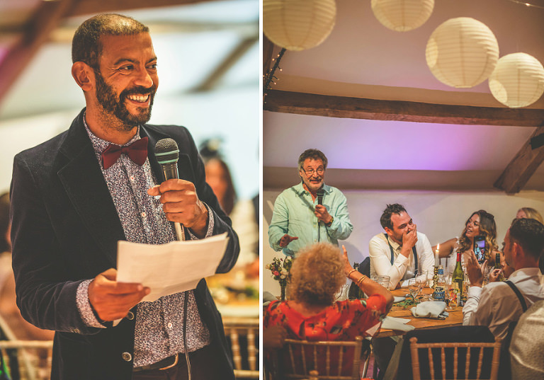 The brides father delivers his speech to the wedding party in the old barn at Pennard house, Somerset