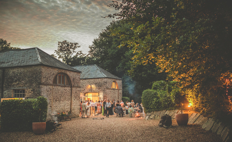 Evening guests at the barn in Pennard house, Somerset