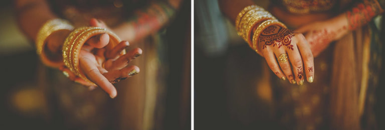 The bride places a bracelet onto her wrist