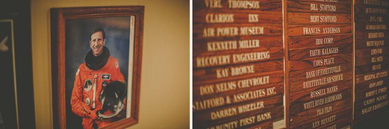 A framed photograph of a space shuttle pilot