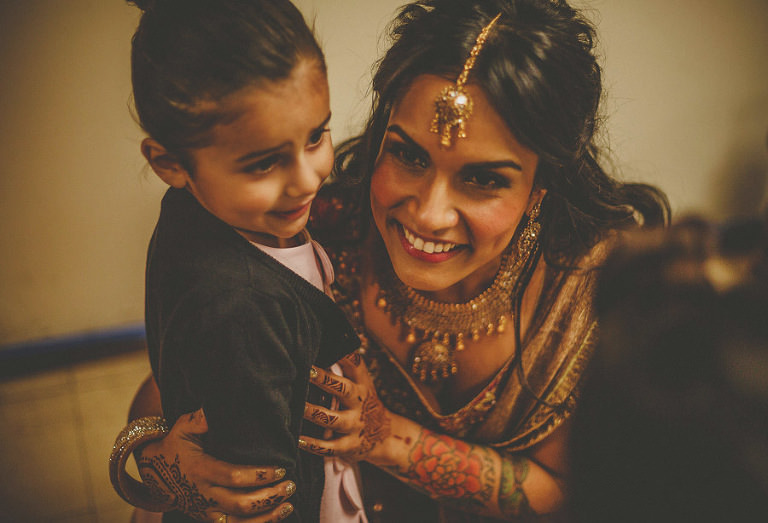 The bride laughs with her niece