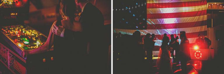 The wedding guests dance on the dancfloor