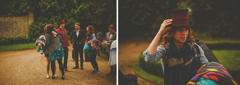 Wedding guests arriving at Voewood, Norfolk