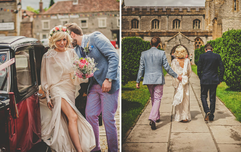 The bride leaves the car and walks towards the Church of St Michael and All Angels, Somerton