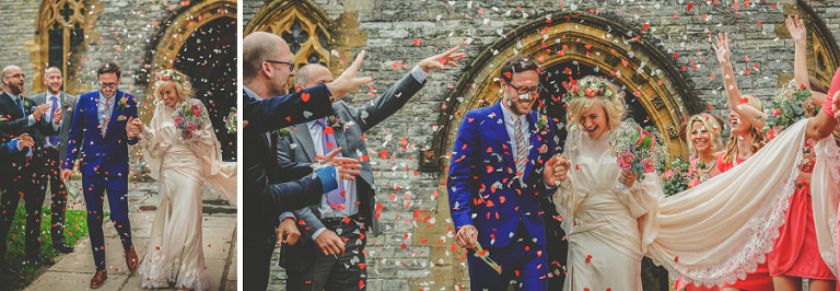 The bride and groom have confetti thrown on them as they leave the Church of St Michael and All Angels, Somerton