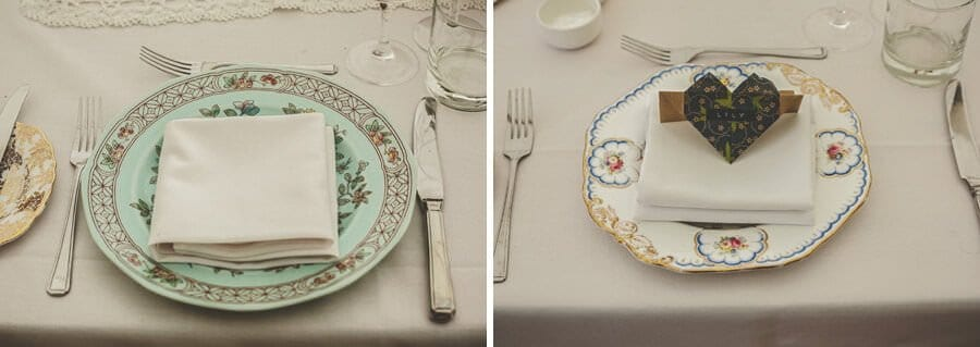 The wedding table and plates