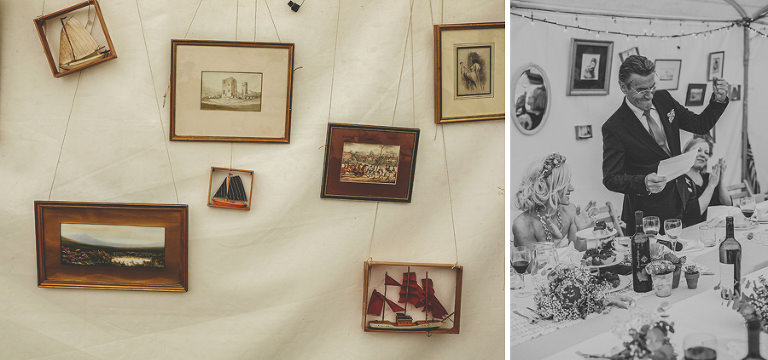 Picture frames hanging from the marquee at Sharpham Park