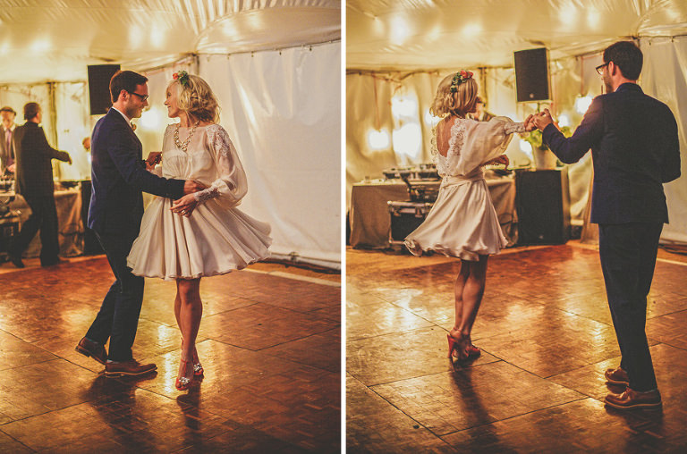 The bride and groom's first dance in the marquee at Sharpham Park