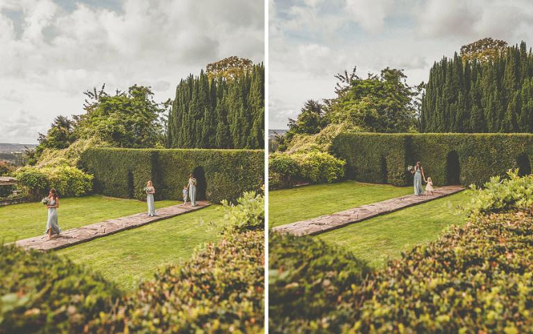 The bridesmaids enter the gardens at Barley Wood house, Bristol