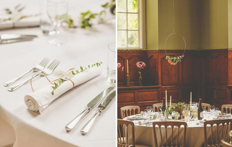 The wedding table at Barley Wood house, Bristol