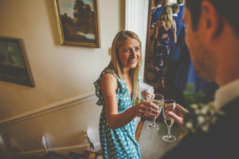 A wedding guest at Barley Wood house, Bristol