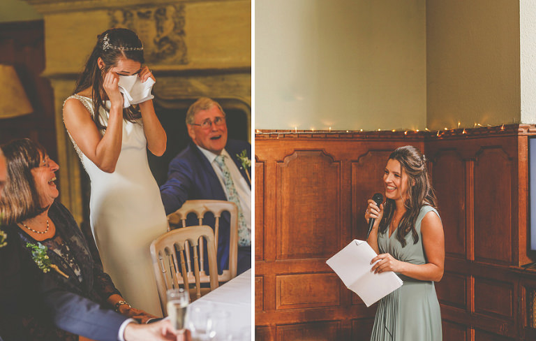 The bride cries as her sister delivers a speech to the bride and groom