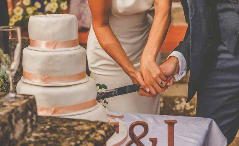 The bride and groom cut the cake in the back garden at Barley Wood house, Bristol
