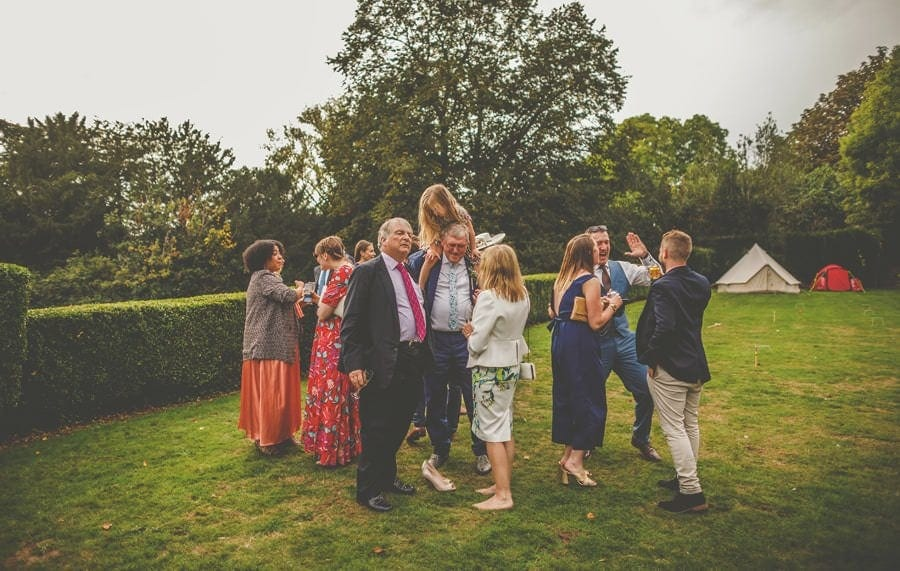 Guests on the lawn at Barley Wood house, Bristol