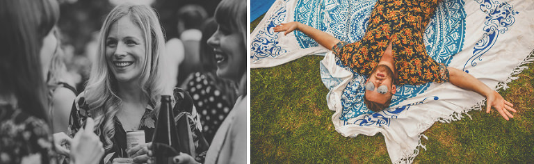 Wedding guests on the lawn at Barley Wood house, Bristol