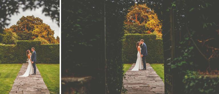 The bride and groom at Barley Wood house, Bristol
