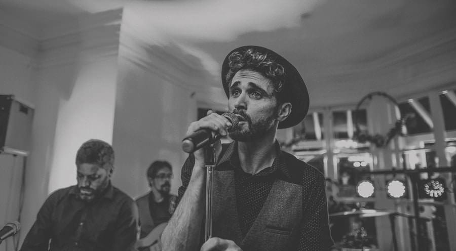 The wedding band singer at Barley Wood house, Bristol