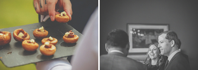 A wedding guest takes a canape from the slate tray