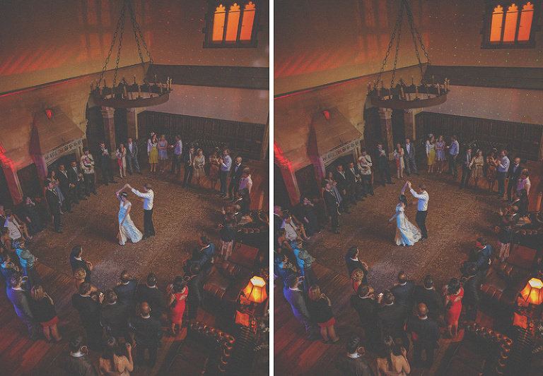 The bride and grooms first dance in front of wedding guests at St. Audries Park