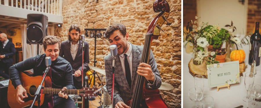 The wedding band at the Tithe Barn in Symondsbury