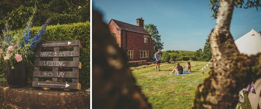 Wedding guests sit on the lawn at Mill farm and talk amongst themselves