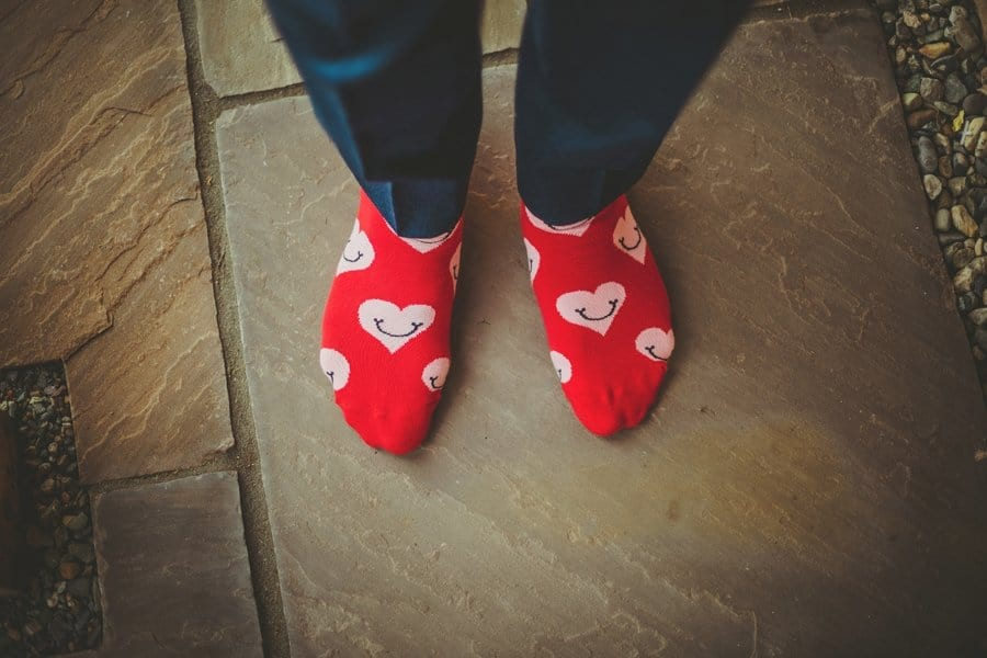 The grooms red socks