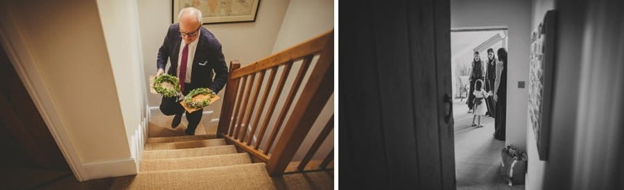 A family friend walking up the stairs to one of the bedrooms at Mill farm