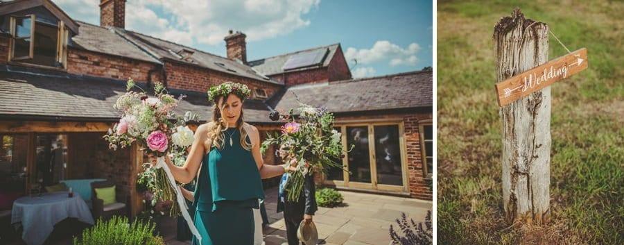 A bridesmaid leaves the courtyard at Mill farm