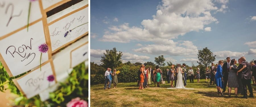 Wedding guests gather on the lawn at Mill farm