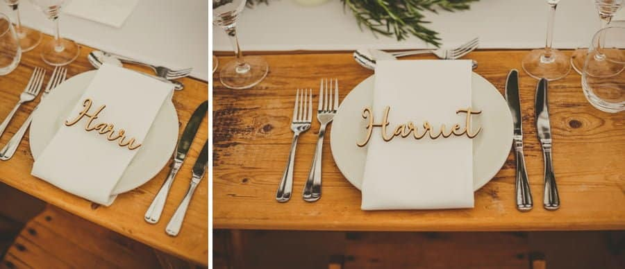 The table set for the bride and groom