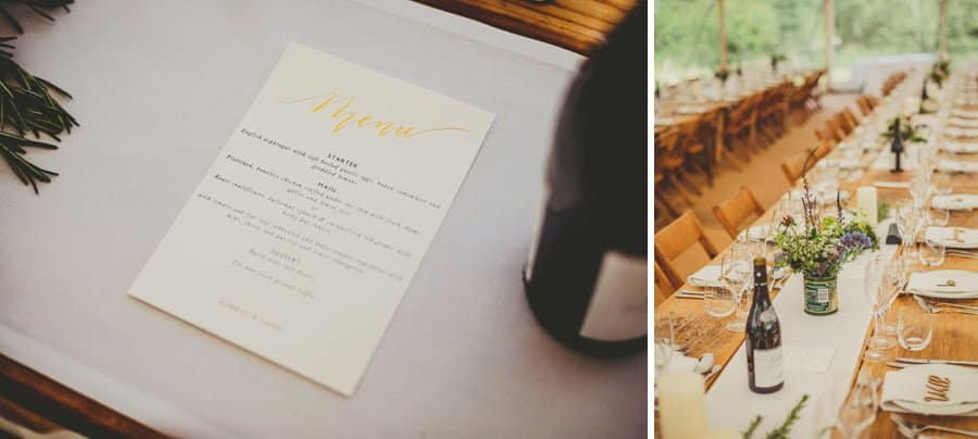 The wedding menu and the wedding table in the marquee