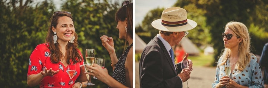Wedding guests sipping champagne