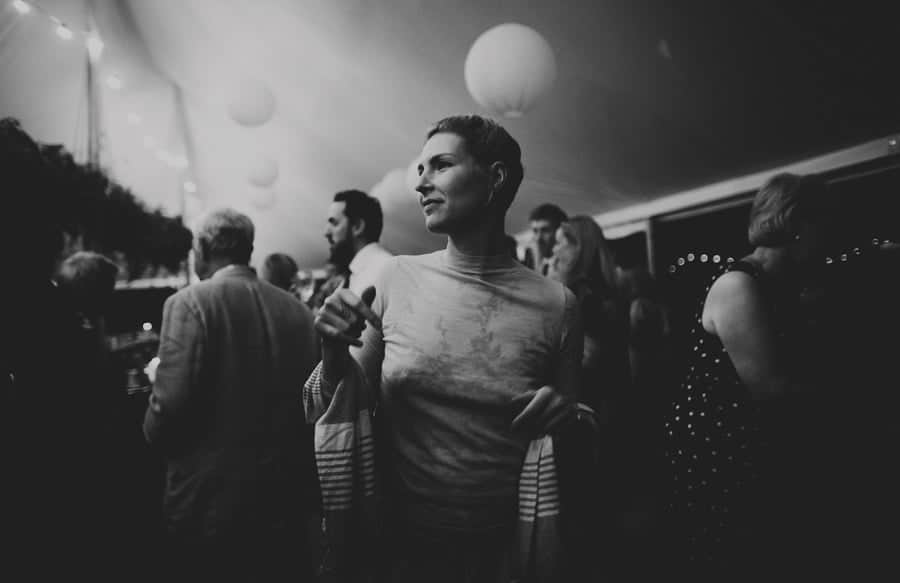 A wedding guest in the marquee at Mill farm