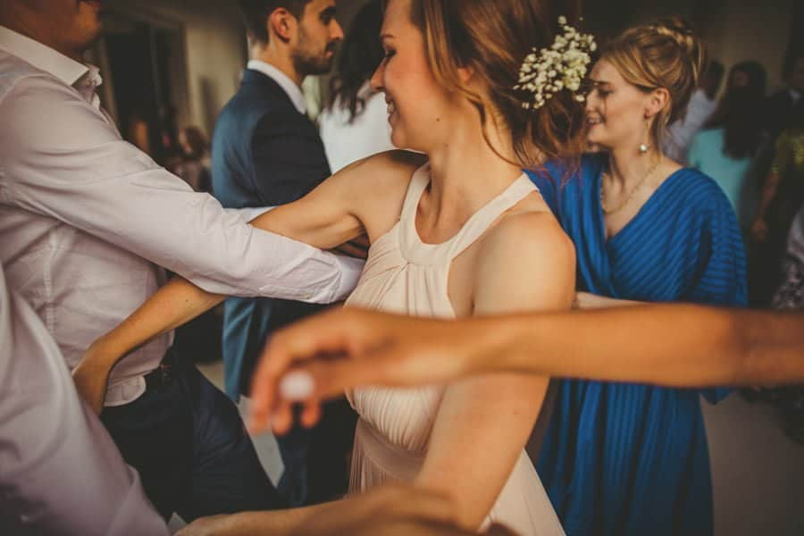 Wedding guests dancing on the dancefloor at Stubton Hall