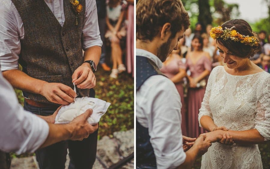 The wedding rings are exchanged in the forest