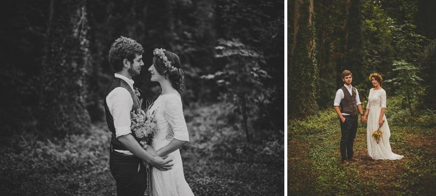 The bride and groom poses for portraits in the woods where the outdoor ceremony had been held earlier in the day