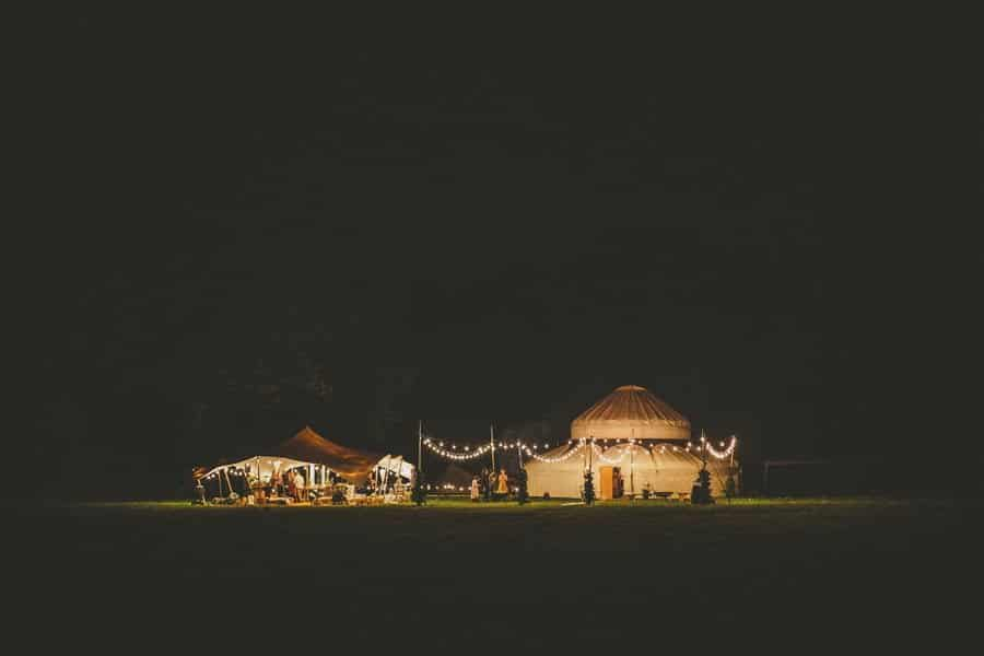 The wedding yurt on the school grounds at midnight