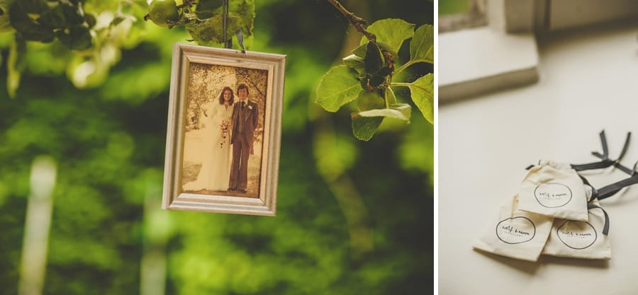 A photograph of the brides parents hangs from a tree at Abbey House Gardens