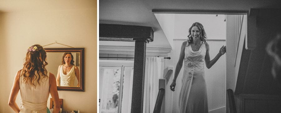 The bride walks down the staircase