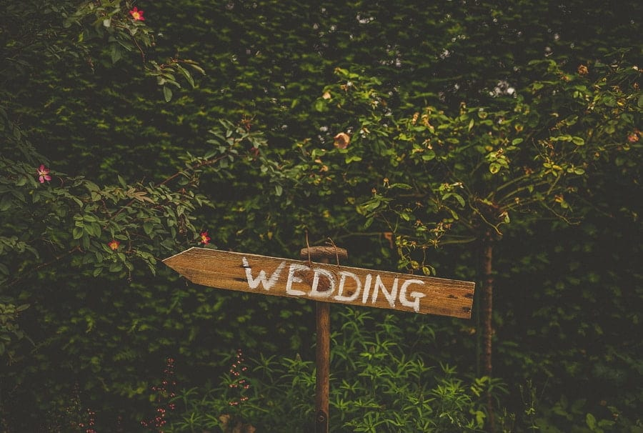 A wedding sign in the gardens