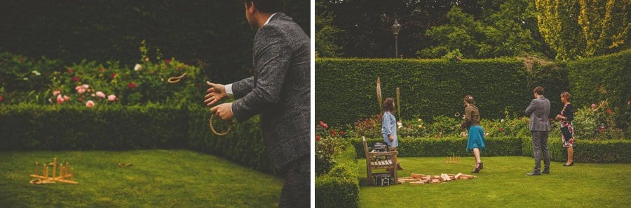 Wedding guests playing games in the garden