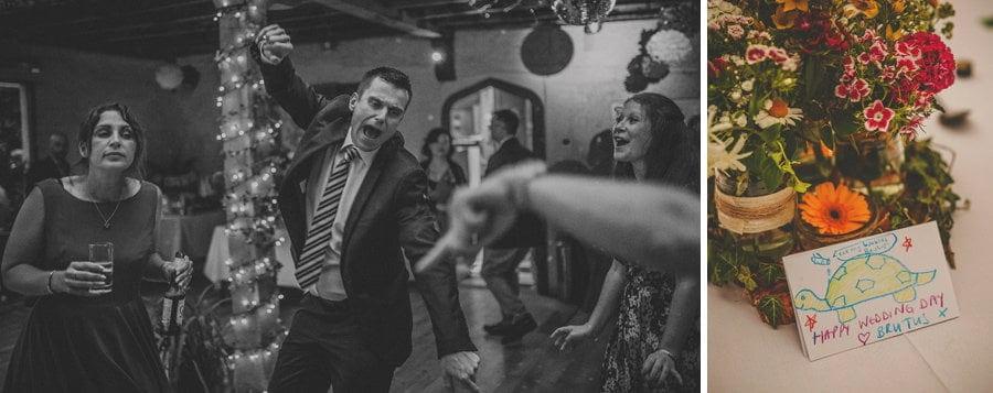 A wedding guest dancing on the dancefloor
