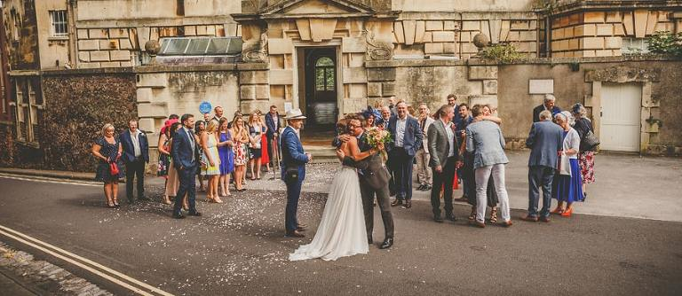 Friends and family congratulate the bride and groom in Clifton